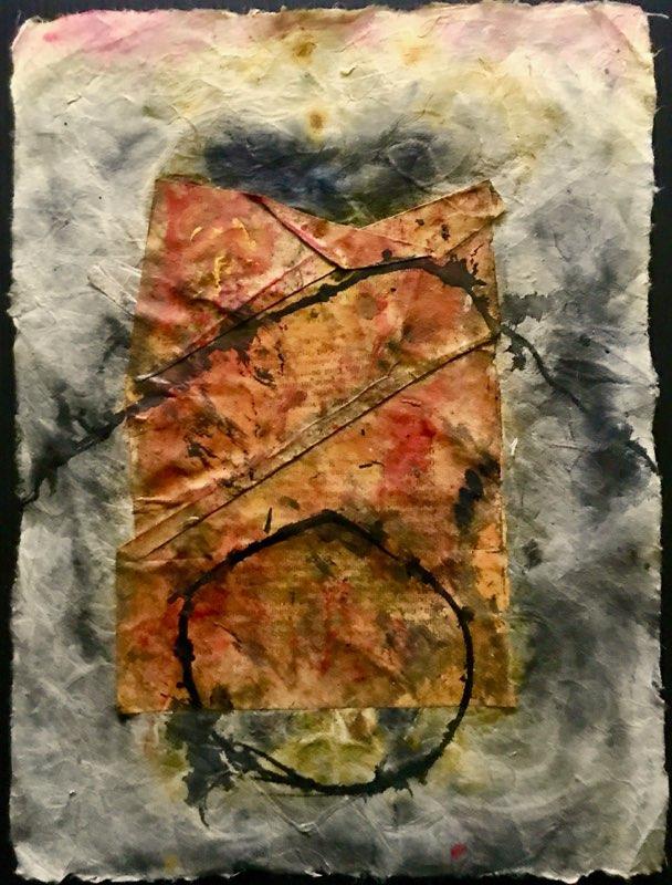 P18-49; mei 2018;collage/acryl op rijstpapier; (24 x 32 cm)