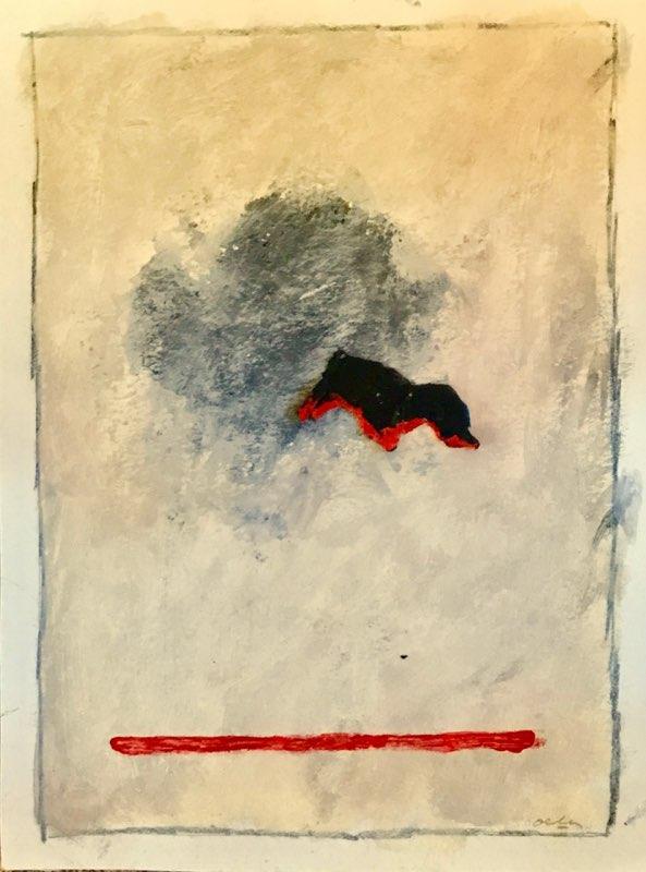 P18-5; juni 2018; collage en acryl op papier; (40 x 30 cm)
