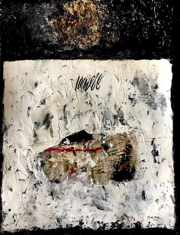 P18-62; juni 2018; acryl/collage op papier; (30 x 40 cm)