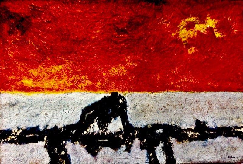 P15-124; okt. 2015; acryl op handgeschept papier, gemaroufleerd op doek; 60 x 90 cm;ExpoGalerie 10 bij 10, 2016